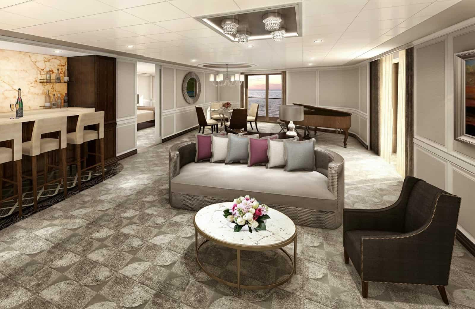 Regent suite esclusive a bordo della prossima seven seas for Planimetrie della master suite