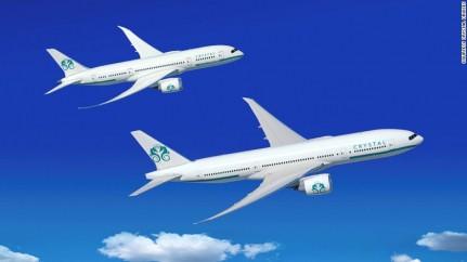 Le crociere tra le nuvole di Cystal AirCruises. Presentati i rendering del nuovo Boeing 777