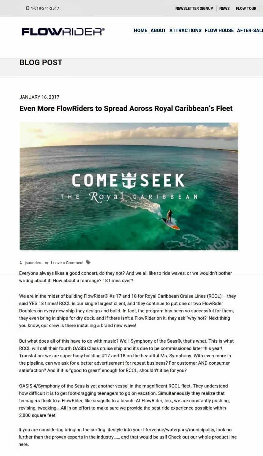 Flow Rider Symphony of the Seas, Royal Caribbean International