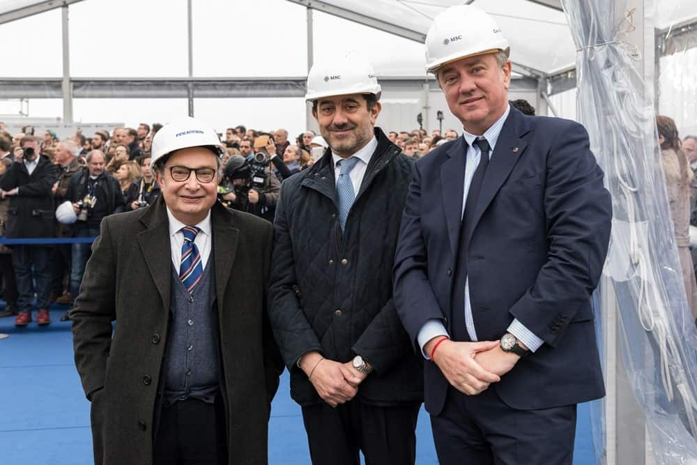 Mr Vago (Executive Chairman of MSC Cruises) Mr Onorato (CEO of MSC Cruises) and Mr Bono (CEO of Fincantieri)