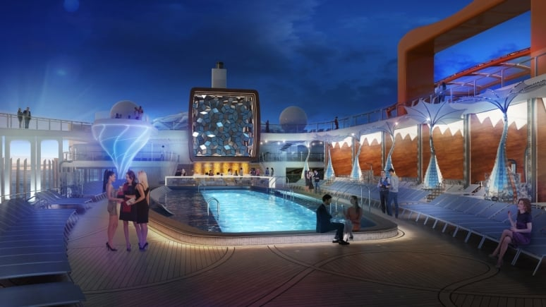 celebrity edge pool deck night