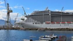 MSC Splendida in drydock a Palermo in vista del posizionamento in Cina