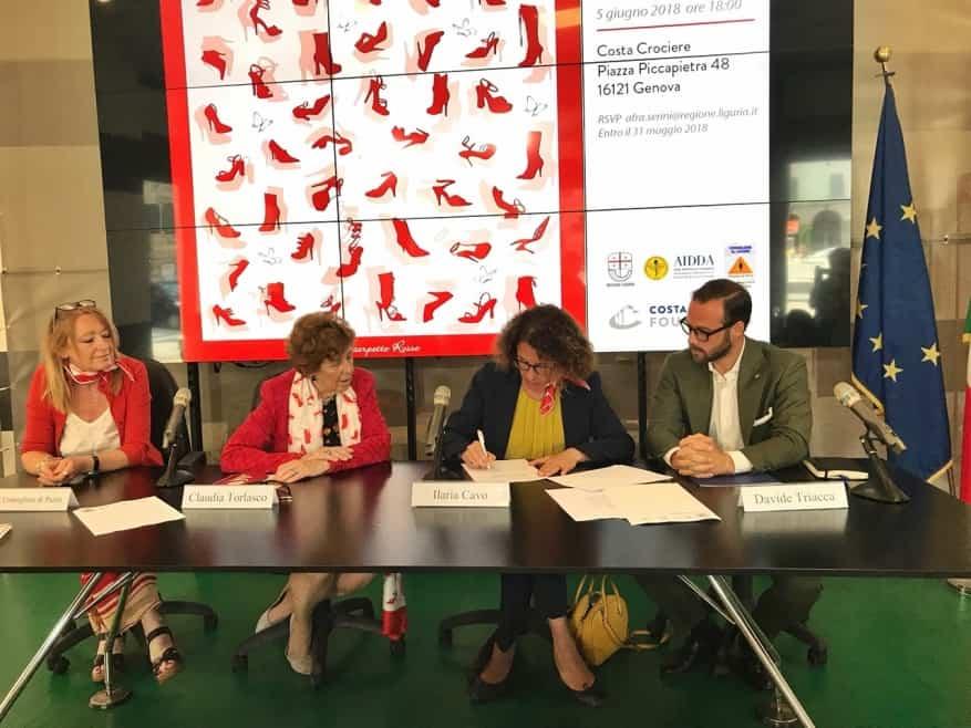 Le scarpette rosse in viaggio in Liguria e a bordo delle navi Costa Crociere a sostegno delle donne vittime di violenza