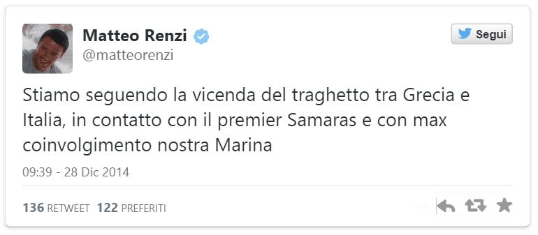 Matteo Renzi su Norman Atlantic