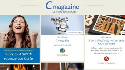 """Costa Crociere lancia il nuovo """"C Magazine"""" online"""