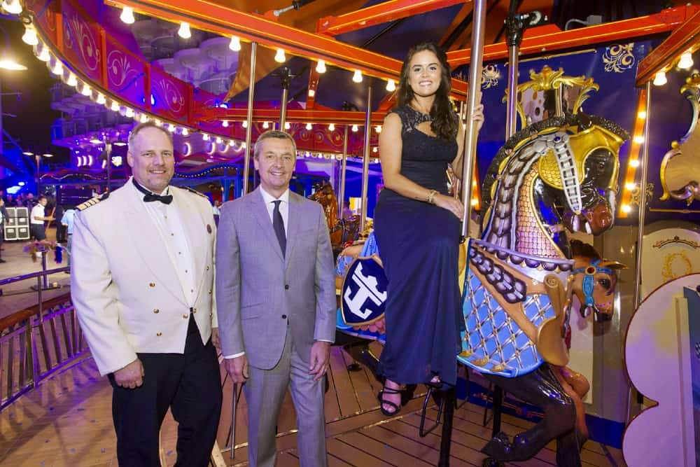 Captain Gus Andersson, Michael Bayley, President and CEO of Royal Caribbean International and Brittany Affolter