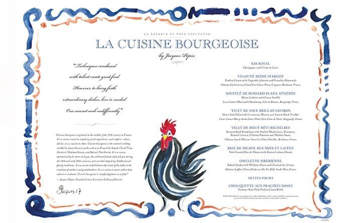 Oceania Menù La Cuisine Bourgeoise