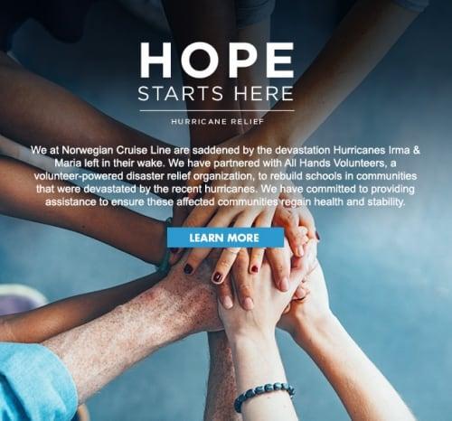 Hope Starts Here, Norwegian Cruise Line